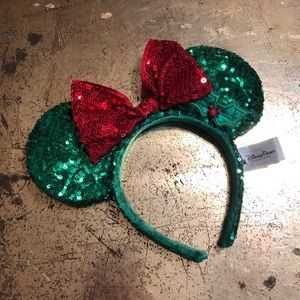 Christmas themed Minnie Mouse Ears-adult sized